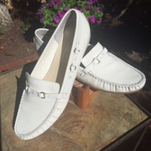 *Talbots* White Patent Driving Shoes